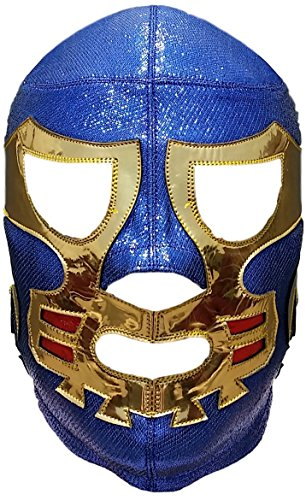 Wählen Sie Ihre professionelle Lucha-Libre-Maske, Erwachsenengröße – Luchador mexikanische Wrestling-Maske, Premium-Qualität, Maske Kostüm für Erwachsene - Blau - Einheitsgröße