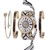 Beauty7 Noir 4pcs Kits de Bracelet avec Mots Montre Quartz Cadran Motif Plume Boho Bracelet Bande de Corde Bresilien Ajustable...