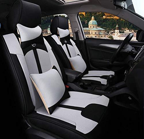 FUNF Volledige Set van Universele Fit 5 Seat Auto Sport Stijl Multi-Kleur Patchwork Auto Stoel Cover Voor En Na Kleurrijke Auto Stoel Riem Met Taille Kussen Kleur: wit