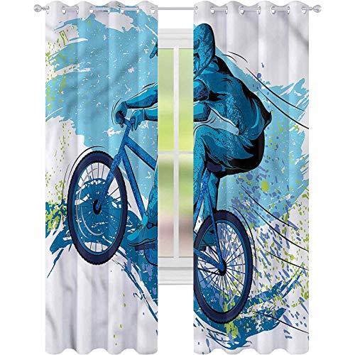 Cortinas opacas para dormitorio, deportes, ciclismo, salpicaduras de color, 52 x 72, cortinas decorativas para sala de estar