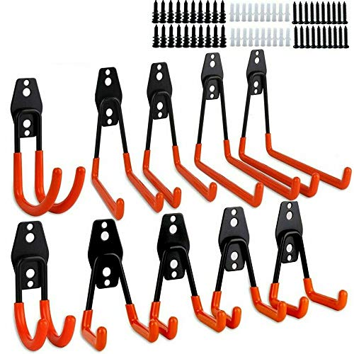 CCJH 10 Stück Garagenhaken, Stahl Utility Garage Doppelhaken Wandhalterung Organizer Hanger Tool