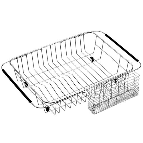iPEGTOP Expandable Dish Drying Rack Organizer and Utensil Cutlery Holder, 304 Stainless Steel Over Sink Dish Rack, Dish Drainer in Sink or On Counter, Rustproof