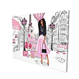 DRAWPRO African American Wall Art Modern Fashion Black Girl Pink Canvas Print Paintings Stylish Feminine Pictures Framed Modern Home Decor For Living Room Kitchen Bathroom Ready To Hang,12x16 Inch