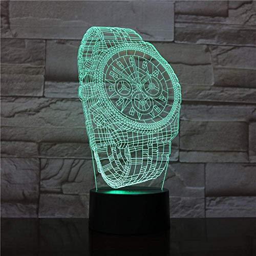 3D LED noche luz para niños abstracto reloj de pulsera 3D ilusión alegría lámpara con control táctil USB carga 16 colores lámparas de escritorio decoración de la habitación regalos 2
