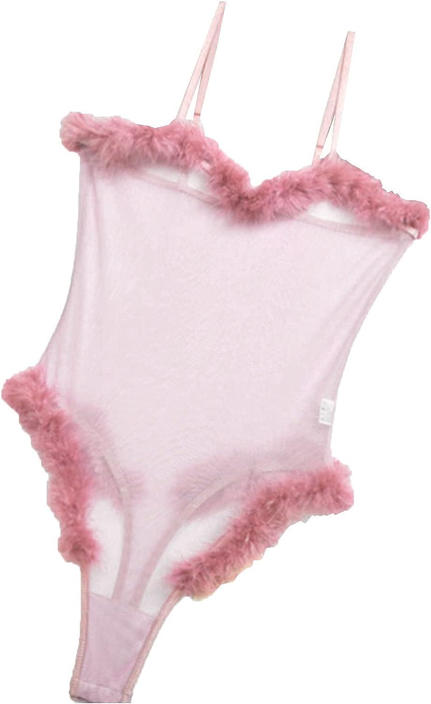 wodceeke Sexy Lingerie for Women Fluff Splicing Net Yarn Teddy Bodysuit See Through One Peice Sling Underwear Babydoll Pajama