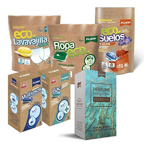 Flopp - Pack Limpieza Sostenible y Vegano en Cápsulas: 1 Detergente Eco, 1 Perfume Ropa, 1 Lavavajillas Eco en Gel, 1 Friegasuelos Eco pH Neutro, 1 Recarga Multiusos y 1 Recarga Limpiador Higienizante