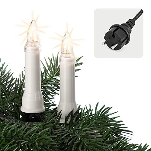 Hellum Christbaumbeleuchtung für innen & außen, 30x Riffel-Kerzen, Schaft weiß, Weihnachtsbaum Lichterkette mit grünem Kabel, Fassungsabstand 45 cm, inkl. Ersatzlämpchen 640304