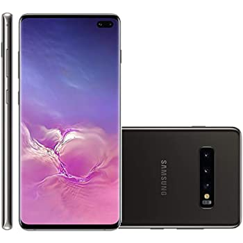 "Samsung Galaxy S10+ Plus 128GB+8GB RAM SM-G975F/DS Dual Sim 6.4"" LTE Factory Unlocked Smartphone International Model, No Warranty (Prism Black)"