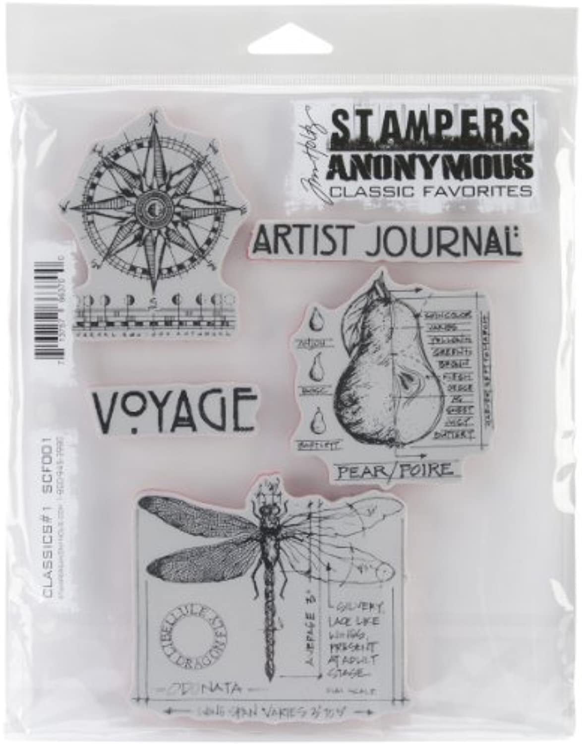 Stampers Anonymous Rubber Stamp Set, 7 by 8.5Inch, Classics No.1 by Stampers Anonymous