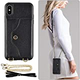 LAMEEKU iPhone Xs Max Crossbody Case Wallet Case for iPhone Xs Max, Shockproof Ultra Slim Leather Purse Cases with Credit Card Holder Case with Strap for iPhone Xs Max 6.5 inch- Black
