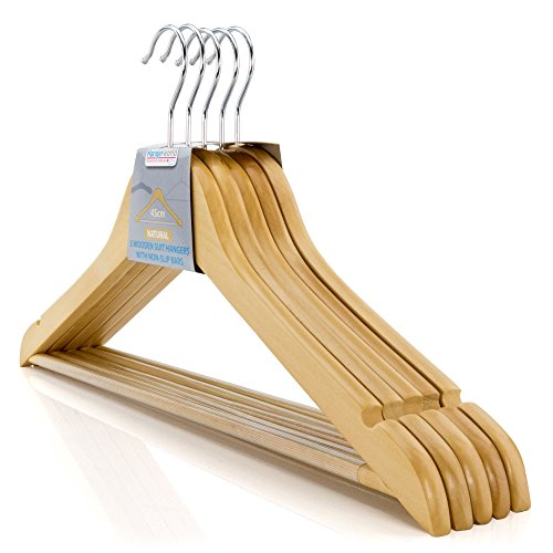Hangerworld pak van 40 houten kleding kledingstuk Top Hangers met niet-slip broek Bar-45cm (17.7