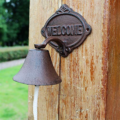 Vintage Bell Cast Iron Wandmontage Vintage Iron Cast Iron Welkom deurbel tuindecoratie Wall Mounted Voordeur Bell voor Garden Farmhouse Yard (Color : Multi-colored, Size : Free size)
