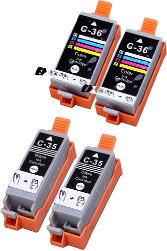 4 Multipack XL Canon CLI-36 , PGI-35 Patronen Kompatible. 2 color, 2 schwarz für Canon iP100, mini260. Tintenpatrone. Tinten kompatible Druckerpatronen. CLI-36-C / 1511B002 , PGI-35-BK / 1509B002 © Patronenland
