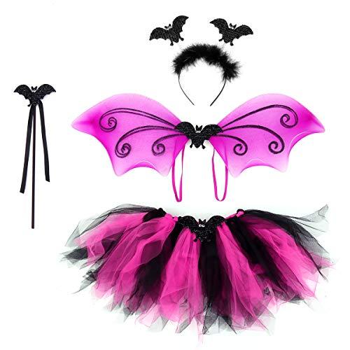 FENICAL Tinksky 4PCS Trajes de murciélago Diadema Varita Varita Falda de tutú Conjunto Vestido de hada para niñas en ángulo (Bat)