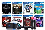 Playstation VR 8 Must-Play AAA Games Deluxe Bundle: PSVR Headset with Motion Controllers, Skyrim VR, Resident Evil, Astro Bot, Everybody's Golf, Gran Tourism Sport, Wipeout, Doom VFR and VR Worlds