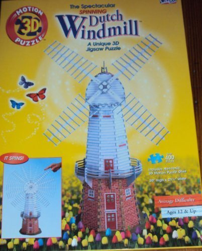 Cadaco Spinning Dutch Windmill 3d Jigsaw Puzzle 400+ Pieces 30 High by Cadaco