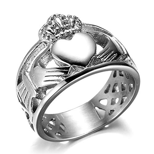 Anillo irlandés Claddagh de acero inoxidable para hombre, con corazón y nudo celta, corona de compromiso negro