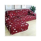 HGblossom L-Form (Kaufen Sie 2 Stück) Ecksofa-Bezug elastisch für das Wohnzimmer Bedruckter Bezug für Sofabezüge Stretch 1/2/3/4 Sitz Farbe 17 Dreisitz 190-230 cm