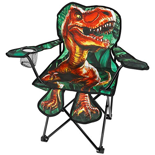 Toy-To-Enjoy Outdoor Dinosaur Chair for Kids – Foldable Children's Chair for Camping, Tailgates, Beach, – Carrying Bag Included Mesh Cup Holder & Sturdy Construction. Ages 2 to 5 (Patent Pending)