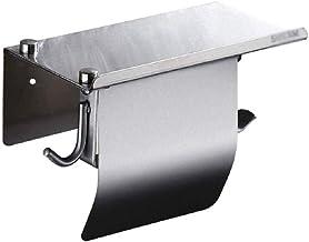 XYZMDJ Metalen toiletpapierhouder-toiletpapierhouder Badkamer Tissue Roll Houder Papier Handdoekhouder met plank, Wandbore...