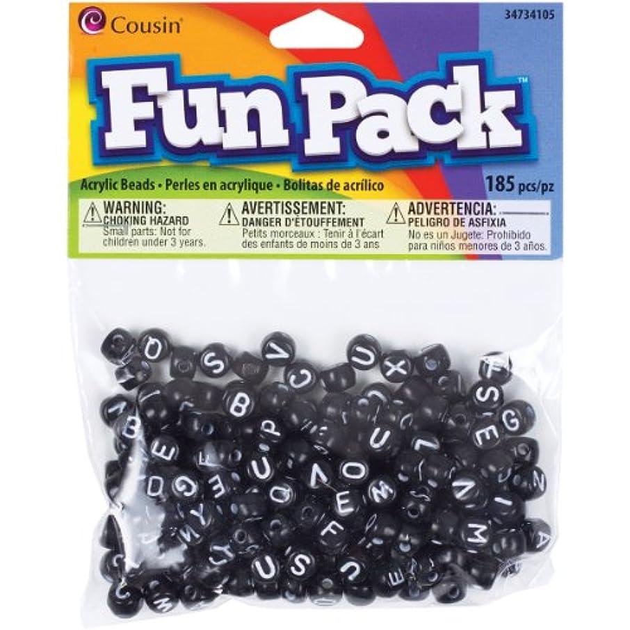 Cousin Fun Packs 185-Piece Alpha Beads Round Black Mix