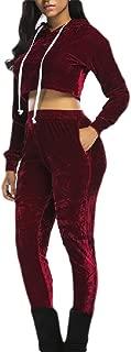 Womens Sexy 2 Piece Set Hoodie Sweatshirt Crop Tops and Pants Tracksuits