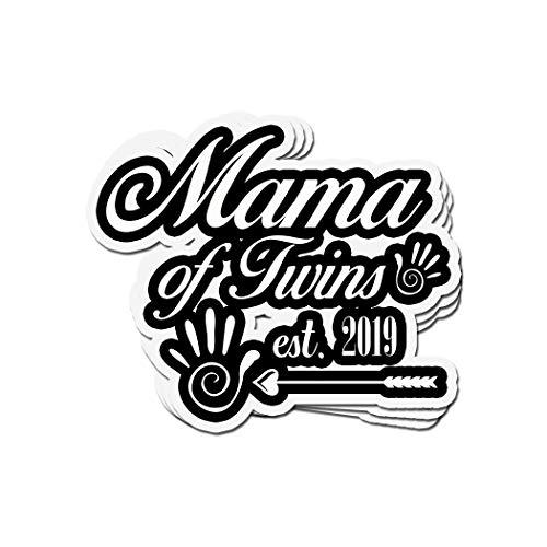 Aufkleber 'Mama of Twins Est. 2019 Twins Announction', Vinyl, gestanzt, 10,2 x 7,6 cm, 3 Stück