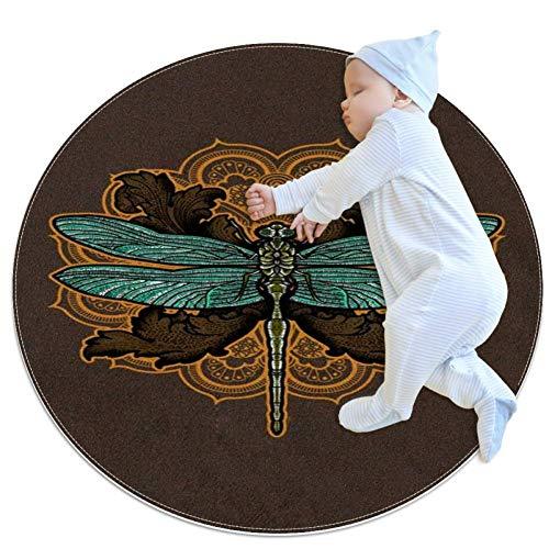 Alfombra redonda de libélula, antideslizante, suave, antimanchas, alfombra antideslizante para salón, dormitorio, comedor, 2.62 pies