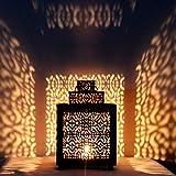 Orientalische Laterne aus Metall Narjis Schwarz 25cm | orientalisches Marokkanisches Windlicht Gartenwindlicht | Marokkanische Metalllaterne für draußen als Gartenlaterne, oder Innen als Tischlaterne