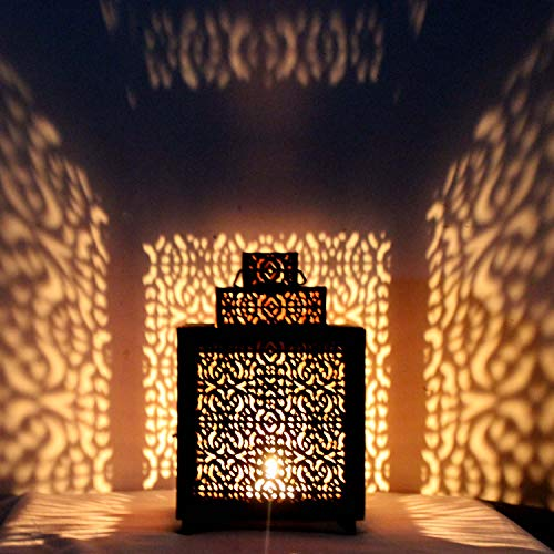 Oosterse lantaarn van metaal narjis zwart 25 cm | Oosterse Marokkaanse windlicht tuinwindlicht | Marokkaanse metalen lantaarn voor buiten als tuinlantaarn of binnen als tafellantaarn