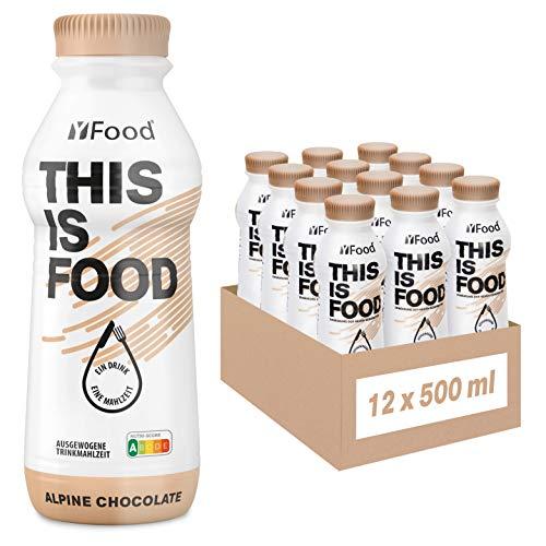 YFood Chocolate | Batido Sustitutivo | Sustitutivo de comida sin lactosa ni gluten | 33g de proteínas, 26 vitaminas y minerales | 25% de las calorías diarias requeridas | 12 x 500 ml (1kcal/ml)