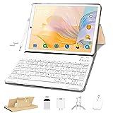 Tableta 10 Pulgadas, OUZRS Android 10 Pro Tabletas 4GB RAM 64GB ROM + Dual SIM 4G Tabletas, Cámara 5 + 8MP | WiFi | IPS | FM | Bluetooth | MicroSD 4-128 GB | con Teclado Bluetooth y Mouse - Oro