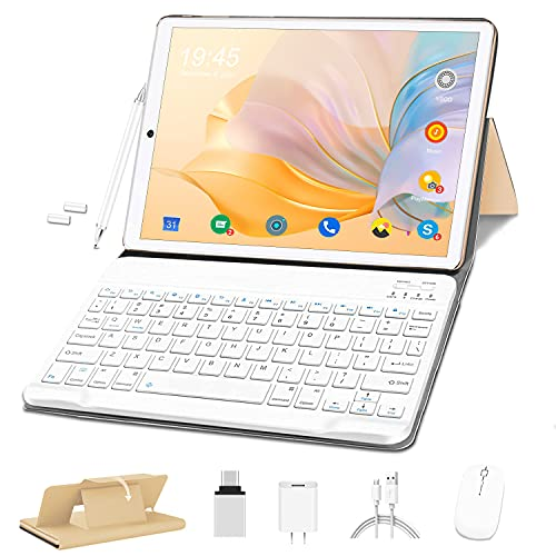 Tablet 10 Pollici HD, OUZRS Android 10.0 4G Tablet PC, Octa-Core 1.6 GHz 4GB + 64GB Espanso 128GB, Tablet in Offerta con Tastiera Mouse, 4G LTE, 5MP + 8MP Fotocamera, 8000mAh, Bluetooth, WiFi - Oro