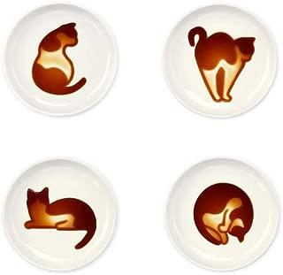 4pcs Ceramics Cat Relief Seasoning Dishes Sushi Dipping Bowl Appetizer Dessert Plate