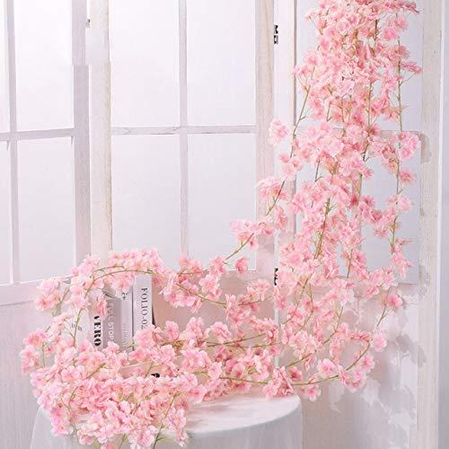 OSALAD 1 Pieza 180 Cm Seda Rosa Flor Guirnalda Hogar Jardín Boda Decoración Ivy Vine 135 Cabezas Flores Artificiales Arco Ratán Colgante Pared Guirnalda