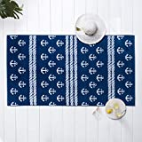 """Welhome Jacquard Beach Towel - Set of 2 - 100% Turkish Cotton - Oversize Towels 40""""x72"""" - Pool & Beach - Supersoft - Ultra Absorbent - Quick Dry - 450 GSM - Anchors Away - Navy"""