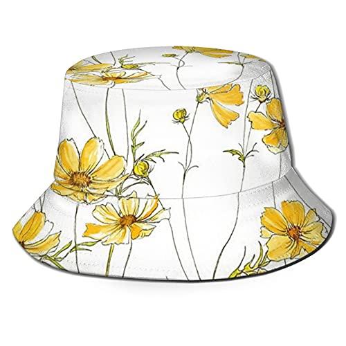 Gelber Kosmos Blumen Sonnenhut Bucket Style Herren und Damen Faltbarer Fischerhut Strandhut Sonnenschutz
