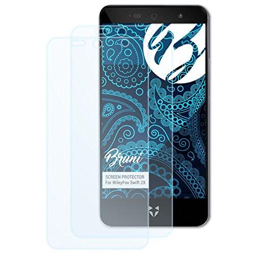 Bruni Schutzfolie kompatibel mit WileyFox Swift 2X Folie, glasklare Bildschirmschutzfolie (2X)