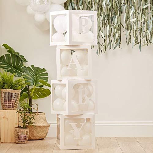 Baby Decoratieve kubus om te vullen met 60 ballonnen, decoratie voor doop, babyshower, karton, wit