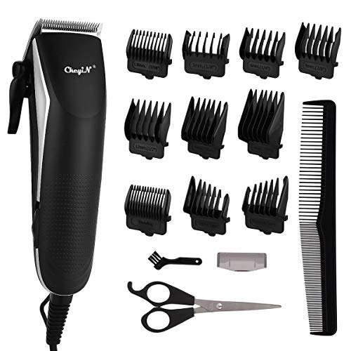Hair Clippers for Men, Hair Cutting Kit, CkeyiN Electric Hair Trimmer Clipper Home Haircut & Grooming Kit with 10 Guide Combs 1 Scissor 1 Comb for Men Kids Baby Barber Bald Head