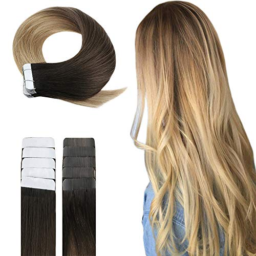 Easyouth Ombre Tape In Extentions 40g Farbe #2 Dunkelstes Braun Fading To #6 Mittelbraun Fading To #27 Honigblond 18 Zoll Balayage Tape In Glue In hair Extensions Human Hair