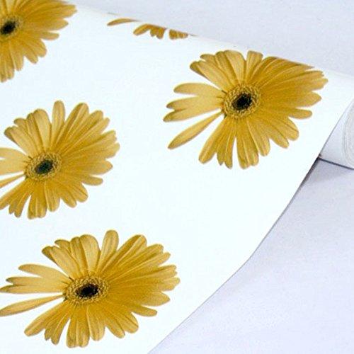 LoveFaye Abziehen und Aufkleben, ablösbares Kontaktpapier zum Abdecken von alten Schubladen, gelbes Gänseblümchen, 45 cm x 3 m