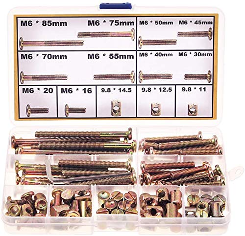 Crib Screws and Bolts Replacement-M6 Bolts Nuts Hardware Kit for Baby Crib Bed Cot Bunk Furniture Assembly 16mm 20mm 30mm 40mm 45mm 50mm 55mm 70mm 75mm 85mm with M6 Barrel Nuts (16MM-85MM)