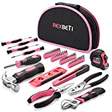 REXBETI 52-Piece Pink Tool Kit, Ladies Premium Solid and Real Hand Tool Set with Easy Carrying Round Pouch, Perfect for Household Projects, Home Maintenance and Dorm Repair