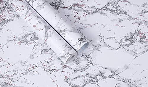 DXIA Marmor Folie Selbstklebend, 45 cm x 1000 cm, Selbstklebende dekorative Folie Wandtattoo PVC-Aufkleber, Klebefolie Küche,Fensterbank Folie für Möbeloberflächen Zuhause Büro Badezimmer