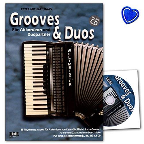 Grooves and Duos für Akkordeon und Duopartner - Autor: Peter Michael Haas - Lehrbuch mit CD und bunter herzförmiger Notenklammer