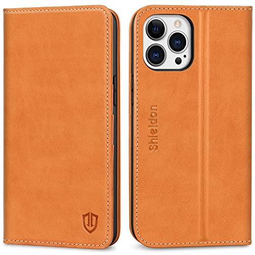 SHIELDON Hülle für iPhone 13 Pro Max, Schutzhülle [Erstklassiges Rindsleder] [Schützt vor Stoß] [Kartenfach] [Magnetverschluss] [Stand], RFID TPU Etui Hülle Kompatibel mit iPhone 13 Pro Max 6,7 Braun