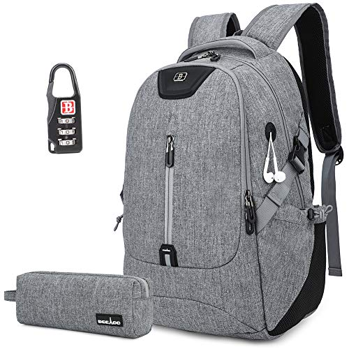 Durable Laptop Backpack, College School Student Bookbag Daypack with Headphone Hole, Travel Business Waterproof 15 Inch Laptops Notebook Computer Bag Gift Set for Women Men Boys Girls(Grey)