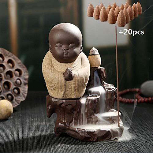 YYZZ Soporte de Incienso Cascada 20Pcs Sándalo natural1Pcs Quemador The Little Monk Pequeño incensario de Buda Incensario de cerámica Soporte de Quemador de Incienso Decoración para el hogar-Gris