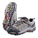 TRIWONDER 靴底用滑り止めスパイク 10ピン かんじき アイゼン スノー アイス スパイク 子供・大人用 メンズ レディース (ブラック, M)